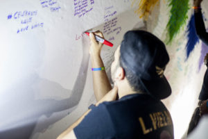 Marrero leaves a message for friend and victim, Luis, at Pulse memorial